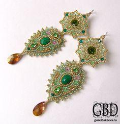 Green bead embroidered earrings -Guzel Bakeeva Designs