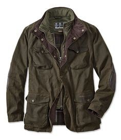 Barbour Mens Lined Waxed-Cotton Jacket- Ogston Jacket