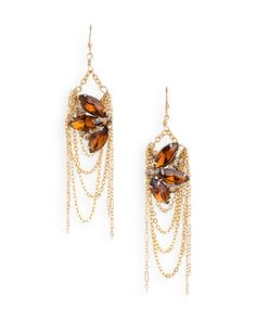I love danglies! Check out these Dee Dee Earrings with smoky topaz and delicately draped gold chains!