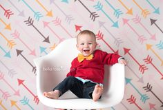 Bella Rose Portraits Baby Photographer Springfield, VA Baby Boy 1 year old white eiffel Eames chair baby photography bow tie Arrow red mustard golden yellow brown baby blue pink cream backdrop Fancy Fabric and Props