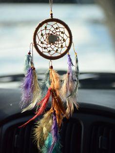 Hippie Dream catcher, Rear View Mirror Charm, Color Dream catcher, Car accessory, Boho Dream catcher, Pheasant Feathers, Elephant Stone