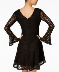 American Rag Juniors' Lace Fit & Flare Dress, Created for Macy's - Black XXL