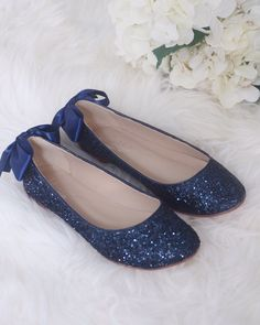 NAVY BLUE ROCK Glitter Flats with Back Satin Bow - Bridal Shoes bacacb5df184
