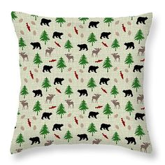 """Moose and Bear Pattern 14"""" x 14"""" Throw Pillow by Christina Rollo.  Our throw pillows are made from 100% cotton fabric and add a stylish statement to any room.  Pillows are available in sizes from 14"""" x 14"""" up to 26"""" x 26"""".  Each pillow is printed on both sides (same image) and includes a concealed zipper and removable insert (if selected) for easy cleaning."""
