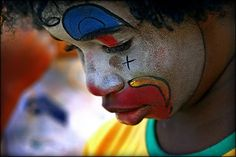 """Sad - clown boy (photography by Carf)  Photography and art working in unison to represent the human emotion """"sadness"""" through facial expression."""