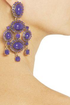 Oscar de la Renta24-Karat Gold-Plated Cabochon Earrings