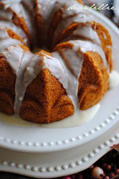 "Pumpkin Slice Bundt Cake. Gotta love a recipe that starts with ""1 box of yellow cake mix"""