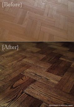Mixed floor stains / Minwax Ebony and Jacobean - {Apple a Day Beauty} Hardwood Floor Stain Colors, Hardwood Floors, Diy Home Furniture, Repurposed Furniture, Red Oak Floors, Painted Floors, Flooring Ideas, Color Pallets, Cozy House