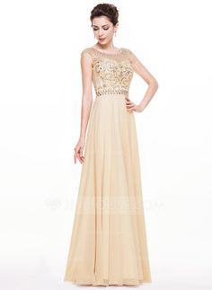 A-Line/Princess Scoop Neck Floor-Length Chiffon Prom Dress With Beading Sequins (018068156)