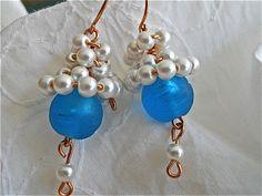 Earrings of Pearl Bunches by JoJosgems on Etsy, $17.00