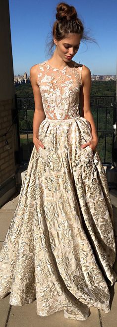 The brocade on this /bertabridal/ wedding dress is just exquisite.