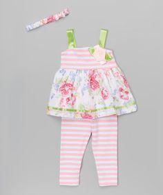 Kids Energy Pink Floral & Stripe Tunic Set - Infant | zulily