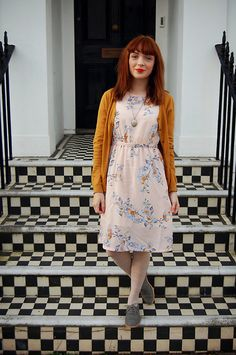 H&M Mustard Cardigan, H&M Floral Summer Dress, H&M Pale Scallop Tights, E Bay Grey Suede Brogues, My Grandmothers Vintage Silver Locket Mustard Cardigan, Nice Dresses, Summer Dresses, Dress With Cardigan, Haute Hippie, Playing Dress Up, Skirt Fashion, Pretty Outfits, Everyday Fashion