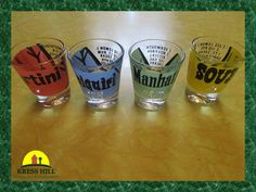 """MADMEN Set Of Four Retro Bar Glasses, """"Martini, Daiquiri, Manhattan, Sours"""", With Recipes, Blue, Green, Red, Yellow, Excellent Condition!"""