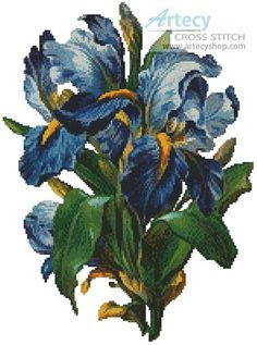 Artecy Cross Stitch. Bunch of Irises Cross Stitch Pattern to print online.