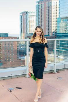 off the shoulder dress, little black dress, ruffled top dress, pencil dress, valentines day outfit —via @TheFoxandShe