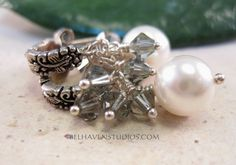 White Swarovski crystal pearls Black diamond by BelhavenStudios