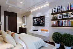 Bedroom Wall TV Design Ideas on Home Architecture Tagged on Bedroom Wall TV Design Ideas. Bedroom Tv Wall, Home Bedroom, Modern Bedroom, Wall Tv, Bedroom Televisions, Narrow Bedroom, Tv Decor, Home Decor, Decoration Originale