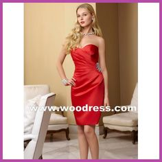 sexy short strapless bridesmaid dresses in red satin Style 184