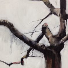 Hermelando B M. Three chapters of a tree, #1. Triptych. Oil on canvas. 138 x 46 cm
