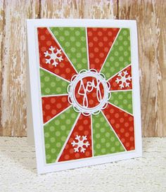 Ann Greenspan's Crafts: Another Christmas Sun Rays red and green card