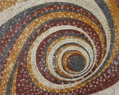 Geometric Spiral Pattern Mosaic Marble Stone Handmade by Mozaico Wood Mosaic, Marble Mosaic, Stone Mosaic, Mosaic Glass, Mosaic Tiles, Mosaic Wall, Stained Glass, Mosaic Floors, Mosaic Mirrors