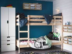 IKEA - MYDAL, Bunk bed frame, , The ladder mounts on the right or the left side of the bed.Made of solid wood, which is a hardwearing and warm natural material.A good solution where space is limited. Ikea Bunk Beds Kids, Childrens Bunk Beds, Cool Bunk Beds, Kid Beds, Twin Bunk Beds, Mydal Ikea, Trofast Ikea, Bunk Bed With Desk, Bunk Beds With Stairs