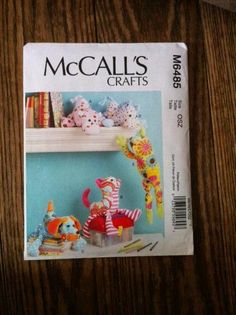 McCalls Crafts Sewing Pattern M6485 Dog Horse Cat Hippo Frog NEW Stuffed Animals