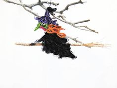 Quilled Witch door hanger Halloween ornaments Folk art Ugly Halloween Ornaments, Halloween Ghosts, Halloween Skull, Halloween Front Doors, Door Hangers, Folk Art, Scary, Witch, Artwork