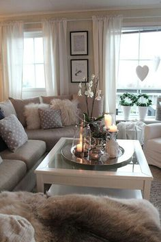 95+ Beautiful Living Room Home Decor That Cozy And Rustic Chic ... Deko Fensterbank Wohnzimmer