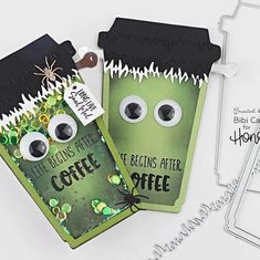 No photo description available. Fall Paper Crafts, Halloween Paper Crafts, Halloween Cards, Halloween Fun, Halloween Projects, Fall Cards, Holiday Cards, Chocolate Card, Honey Bee Stamps