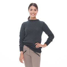 This chunky, knit sweater features a subtle white stitched design and ribbing around the collar, cuffs, and hem.  This season-less staple pairs with bla...