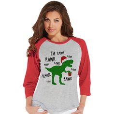 Christmas Dinosaur Shirt Ladies Baseball Tee Red Raglan Shirt Funny... ($21) ❤ liked on Polyvore featuring tops, t-shirts, silver, women's clothing, christmas shirts, graphic tees, baseball t shirt, christmas t shirts and graphic t shirts