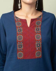 Simple Kurta Designs, Kurta Designs Women, Churidar Designs, Neck Designs For Suits, Dress Neck Designs, Kurti Embroidery Design, Embroidery Dress, Hand Embroidery, Fancy Dress Material