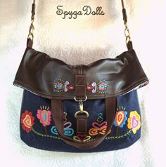 "Spygadolls Bags: Colección ""Blue Folk"", Fall-winter 14/15 (version 1 : folded sling bag)"