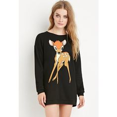 Forever 21 Oversized Bambi Sweatshirt ($25) ❤ liked on Polyvore featuring tops, hoodies, sweatshirts, graphic sweatshirts, lightweight sweatshirt, oversized tops, oversized sweat shirts and forever 21