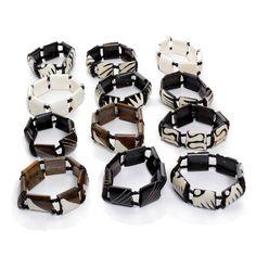 Set Of 12 Assorted Bone Bracelets (J-B609)