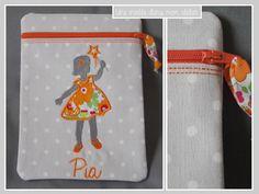 Liberty Betsy orangé trousse petite fille prénom Pia Liberty Betsy, 3 D, Lunch Box, Creations, Couture, Orange, Sewing, Children, Clutch Bag