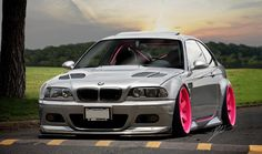BMW slammed grey with vented hood and pink rims - Bwm Series E60 Bmw, E46 M3, E46 Tuning, E46 Coupe, Pink Rims, Diesel, Slammed Cars, Bmw Performance, Girly Car