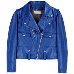 Golden Goose Cobalt Blue Leather Biker Jacket ($2,105) ❤ liked on Polyvore featuring outerwear, jackets, coats & jackets, coats, blue, motorcycle jacket, real leather jacket, blue leather jacket, moto jacket and cropped leather jacket