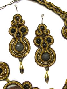 Set Brown And Gold (Agate) soutache by GosiaBizu