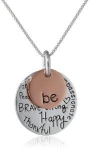 "Sterling Silver with 14k Yellow Gold Plated ""Be Kind Free True Brave Strong Happy Thankful Compassionate"" Two Charm Graffiti Necklace, 18"""