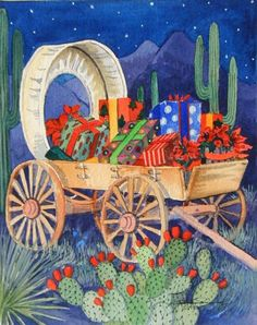 Southwestern wagon filled with Christmas gifts ~ Barbara Ann Spencer Jump.
