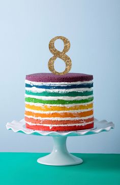 Z Create Design Gold Glitter Age Cake Topper Number Birthday Cakes, Birthday Cake Toppers, Rainbow Birthday Foods, It's Your Birthday, Birthday Parties, Birthday Ideas, Star Baker, Springform Cake Tin, Tall Cakes