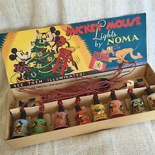 Vintage 1930s NOMA Mickey Mouse Disney Christmas or Party Lights- Work Great!