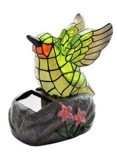 Maison & Garden - Tiffany style solar powered humming bird garden ornament