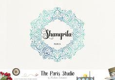 Watercolor Frame Logo Design for website logo, blog logo, business boutique branding design.