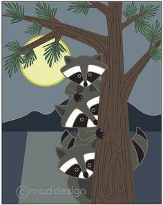 Kids Art Print - Wall Art - Forest Art - Children Decor - Nursery Art - Raccoon. $22.00, via Etsy.