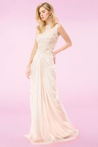 #12 LATTE ROSETTE SCALLOP TULLE AND GRID CORDED TULLE BOATNECK GOWN WITH MESH DRAPED SKIRT