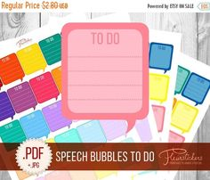 SALE To Do Speech Bubble Printable Planner by FleurStickers